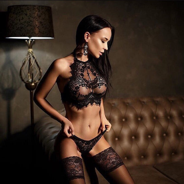 Lace Push-Up Bralette and Thong Panty Set black