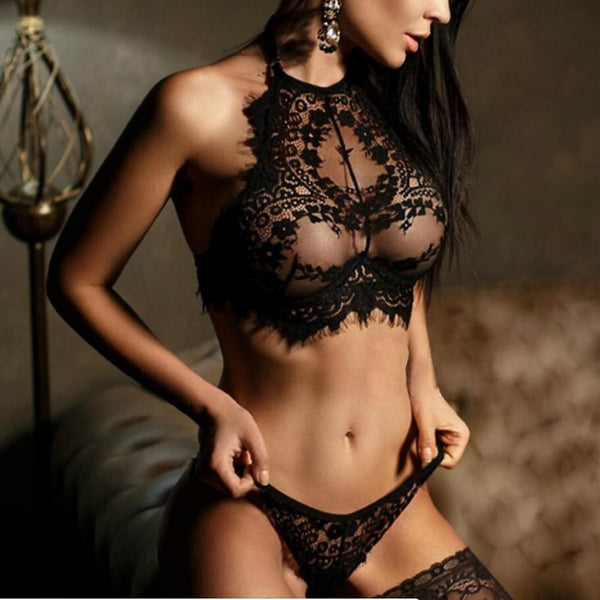 Lace Push-Up Bralette and Thong Panty Set 2 Colors