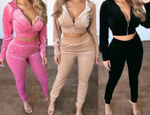 VELOUR TRACKSUIT CROP TOP & PANTS SET