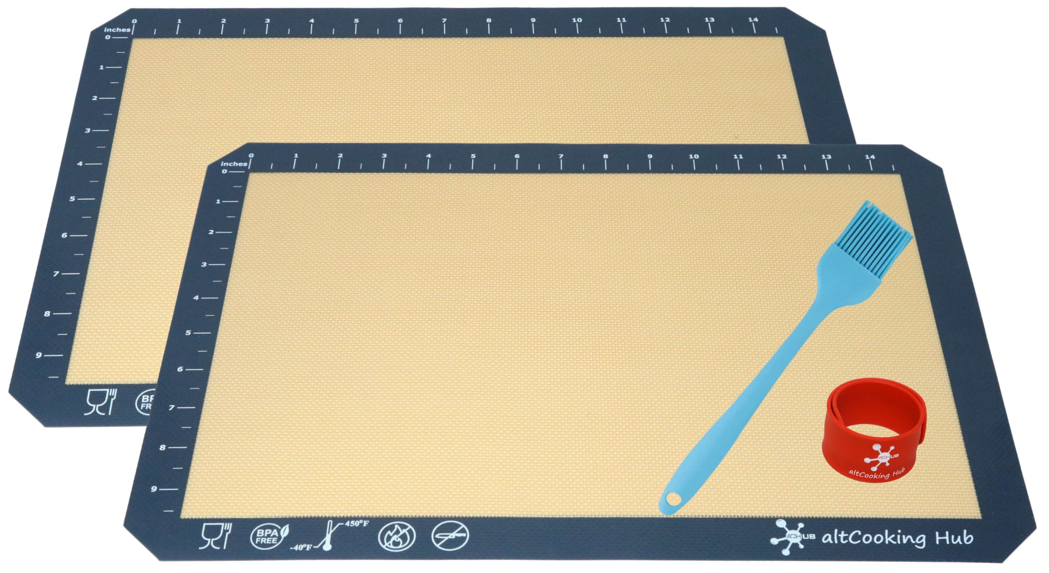 Silicone Baking Mat & Silicone Brush Set (Blue) - altCookingHub