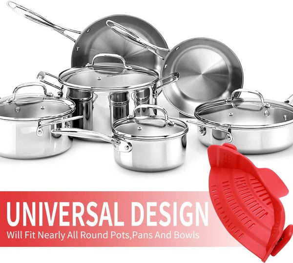 Universal Design Silicone Clip-On Pot Strainer - altCookingHub