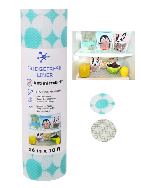 Antimicrobial Refrigerator Liner & Shelf Mat - BPA Free, Wider Roll (16 in), Non Adhesive, Washable