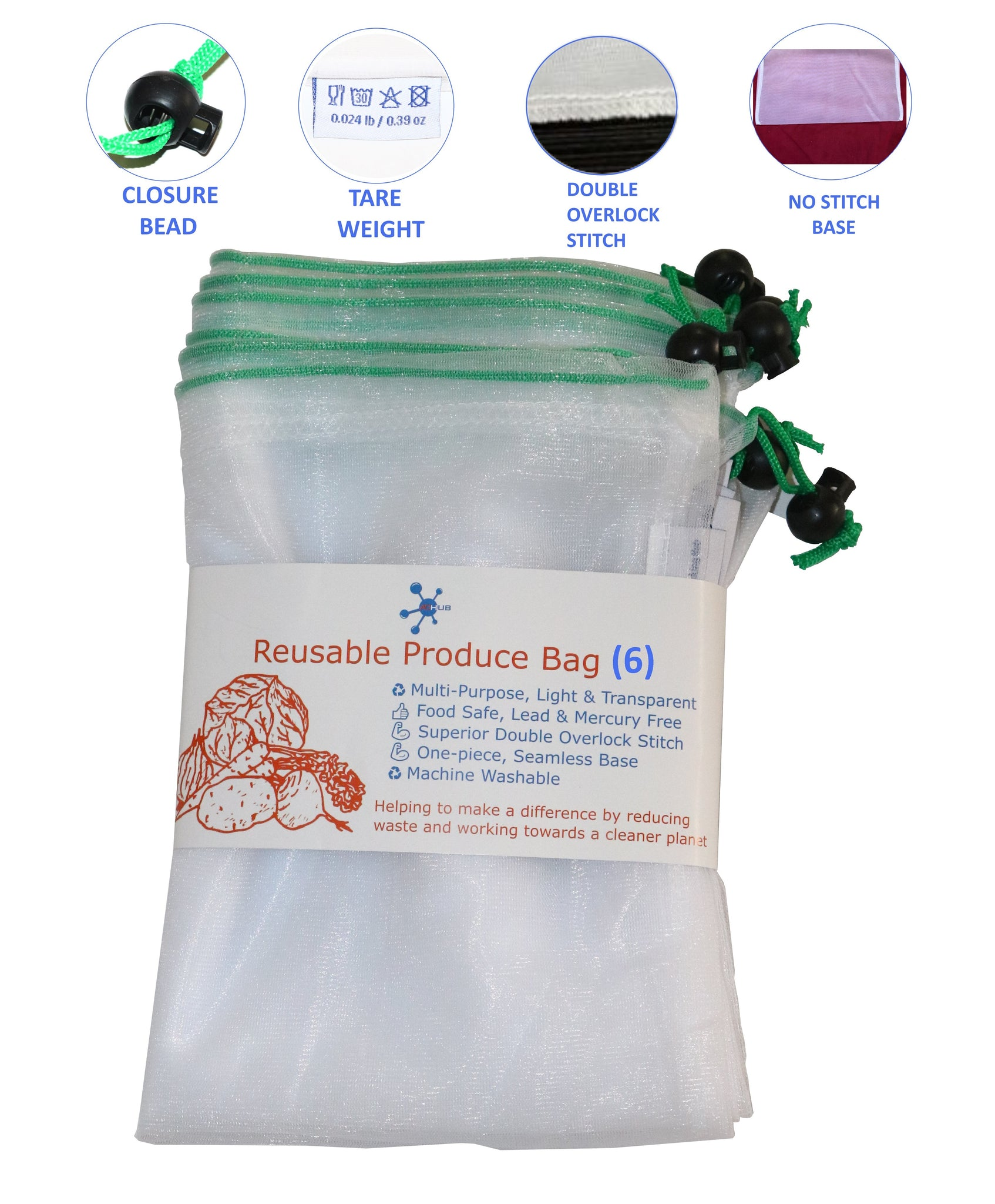 Reusable Produce Bags 6 pack- ACHub