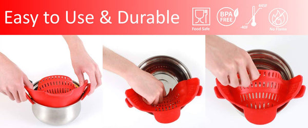 Silicone Clip-On Pot Strainer Use Instruction - altCookingHub