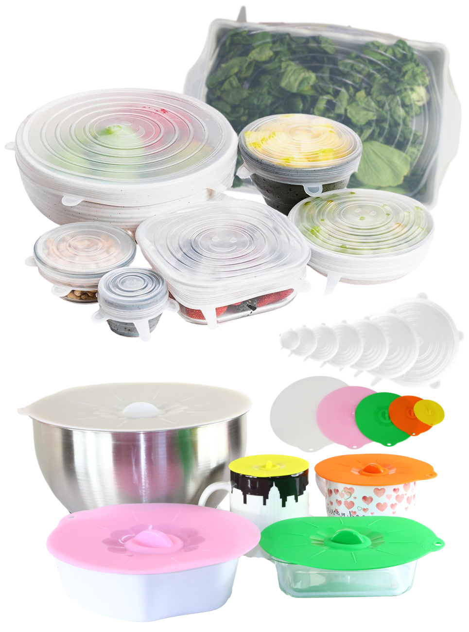 Silicone Stretch Lids Various Sizes incl. XLarge 11 Inch Lid & Silicone Suction Lids Combo