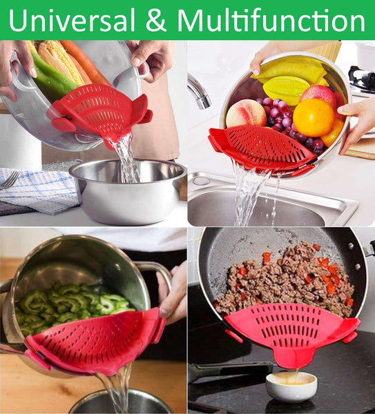Silicone Clip-On Pot, Pan & Bowl Colander - altCookingHub