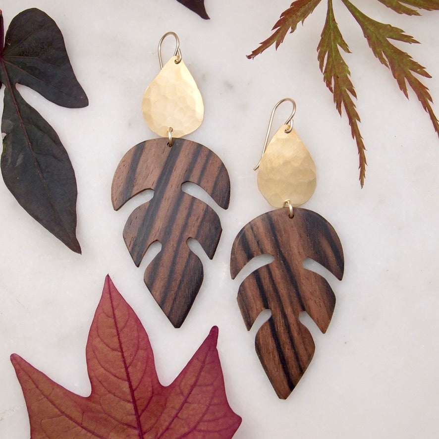 Wood leaf drop earrings