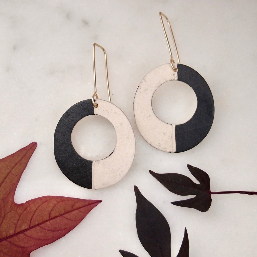 Ceramic Disk Earrings - block