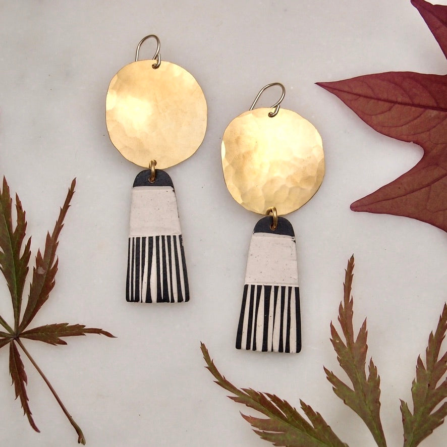 Brass and Ceramic Drops - tassel