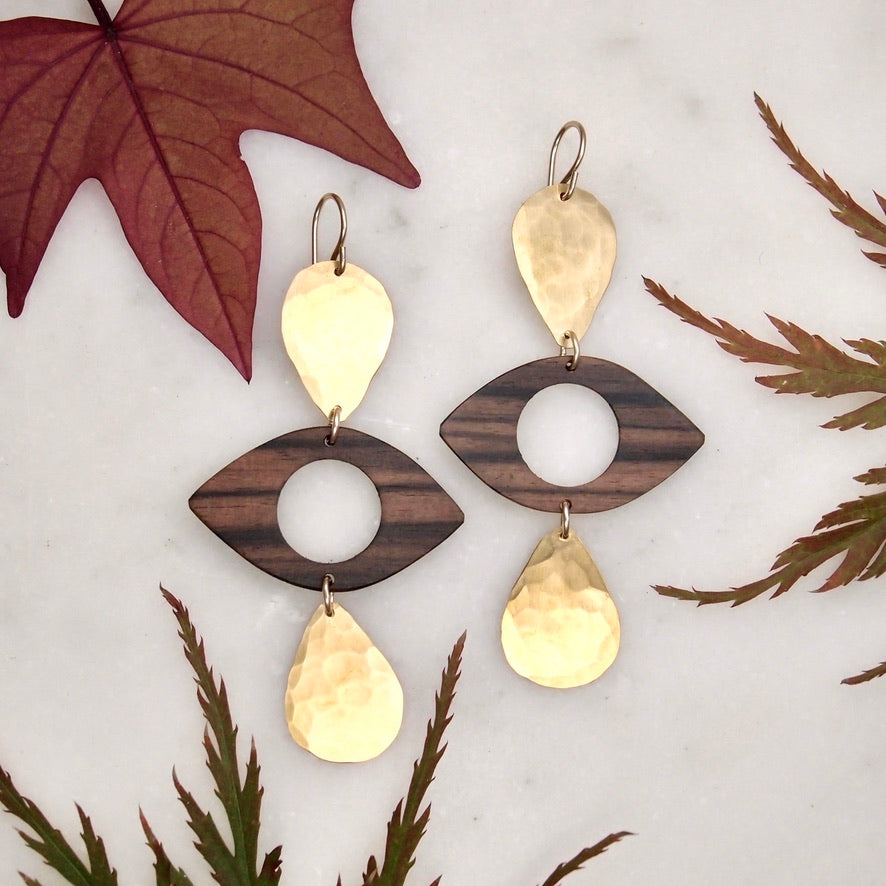Wood Eye Earrings
