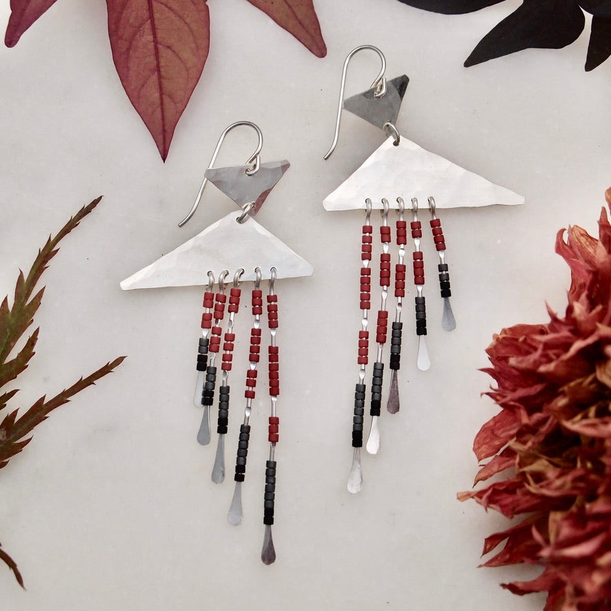 Beaded Earrings - Red/Silver