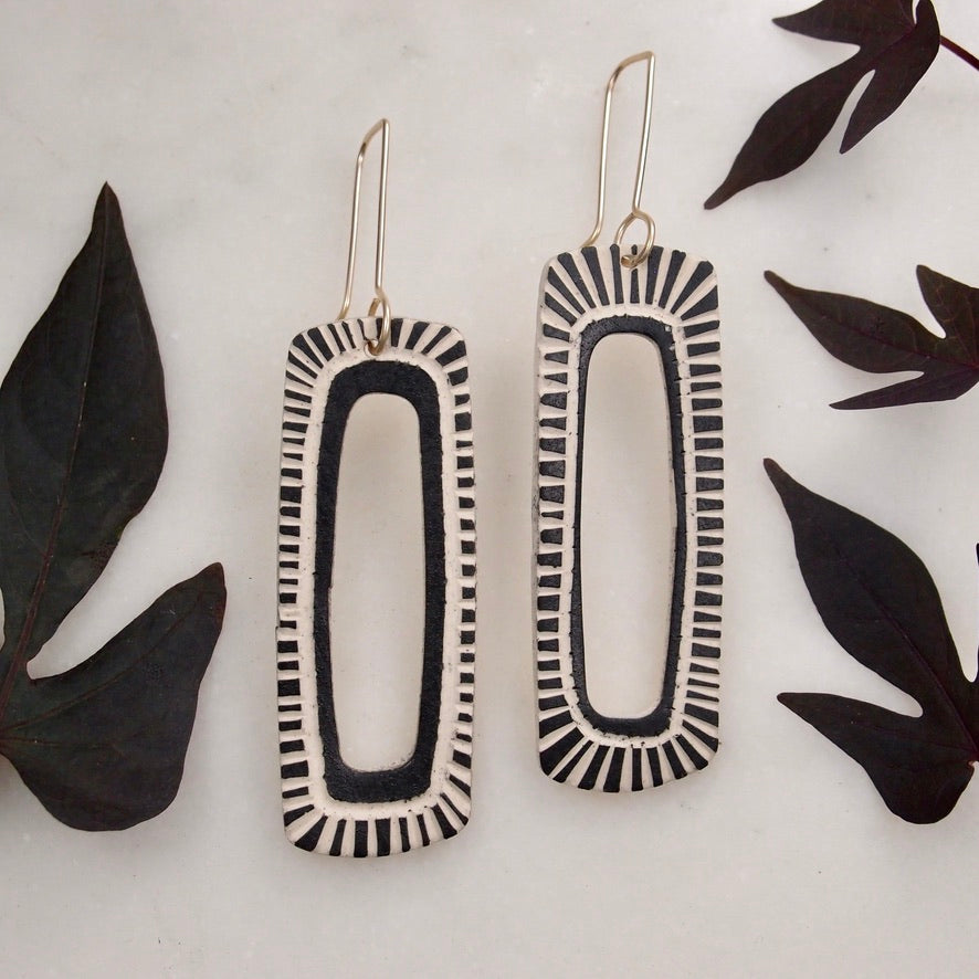 Ceramic Rectangle Earrings