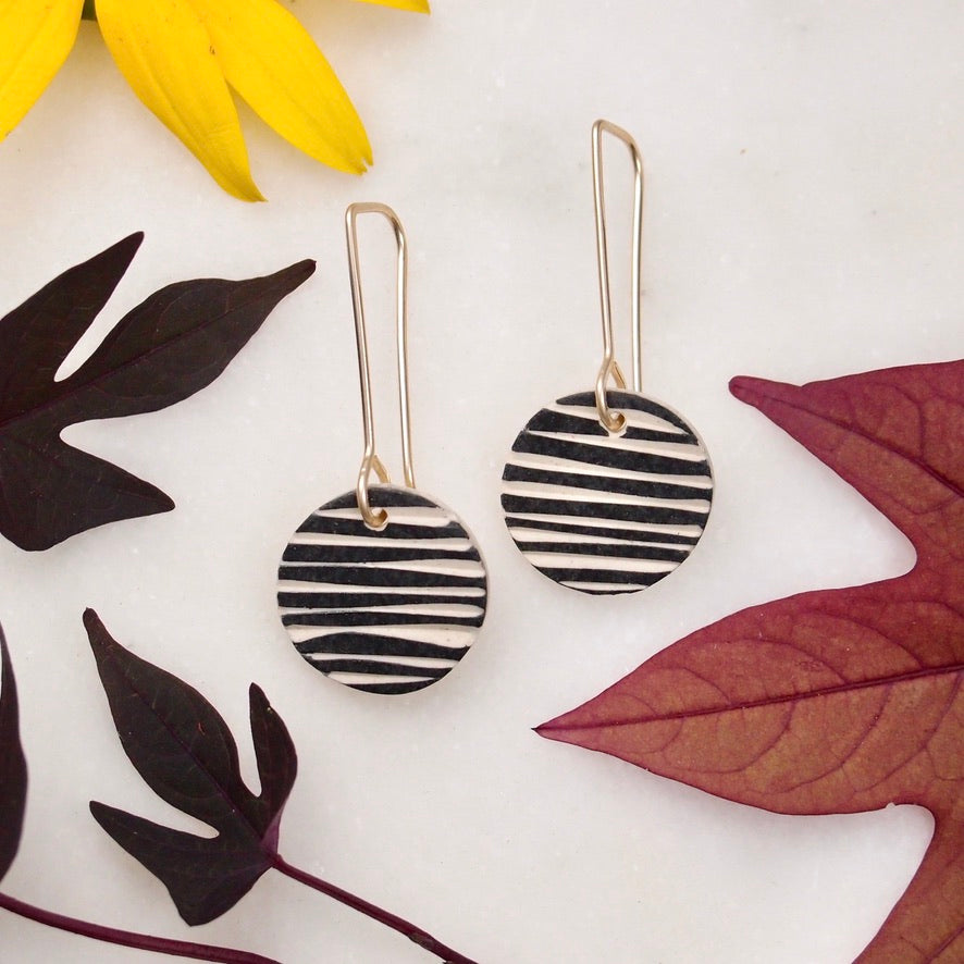 Ceramic Dot Earrings - Stripe