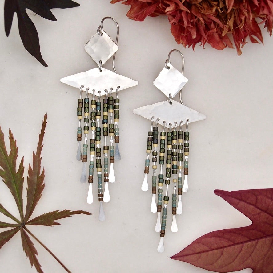 Beaded Earrings - Green/Silver
