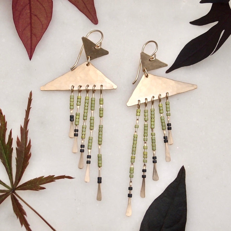 Beaded Earrings - Green/Gold