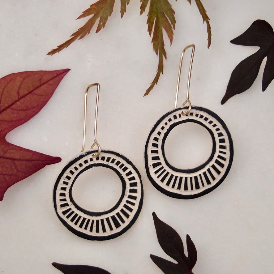 Ceramic Disk Earrings - Ladder