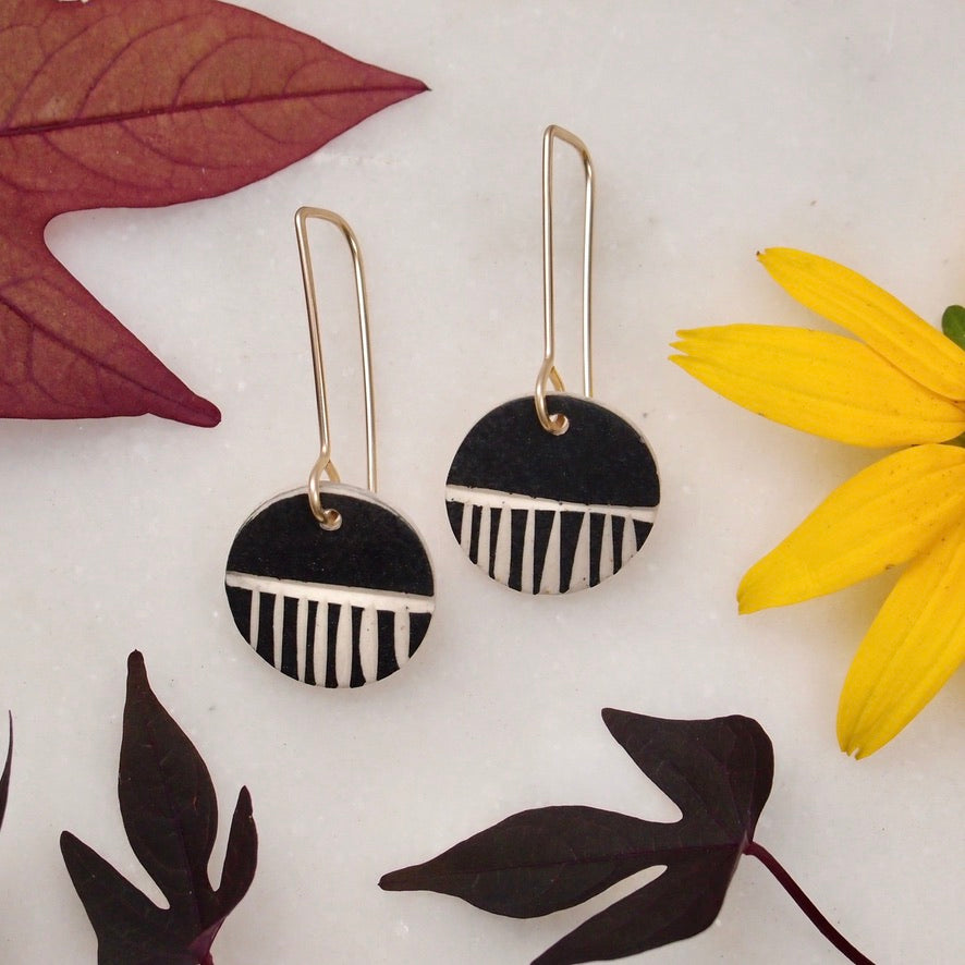 Ceramic Dot Earrings - Black Stripe