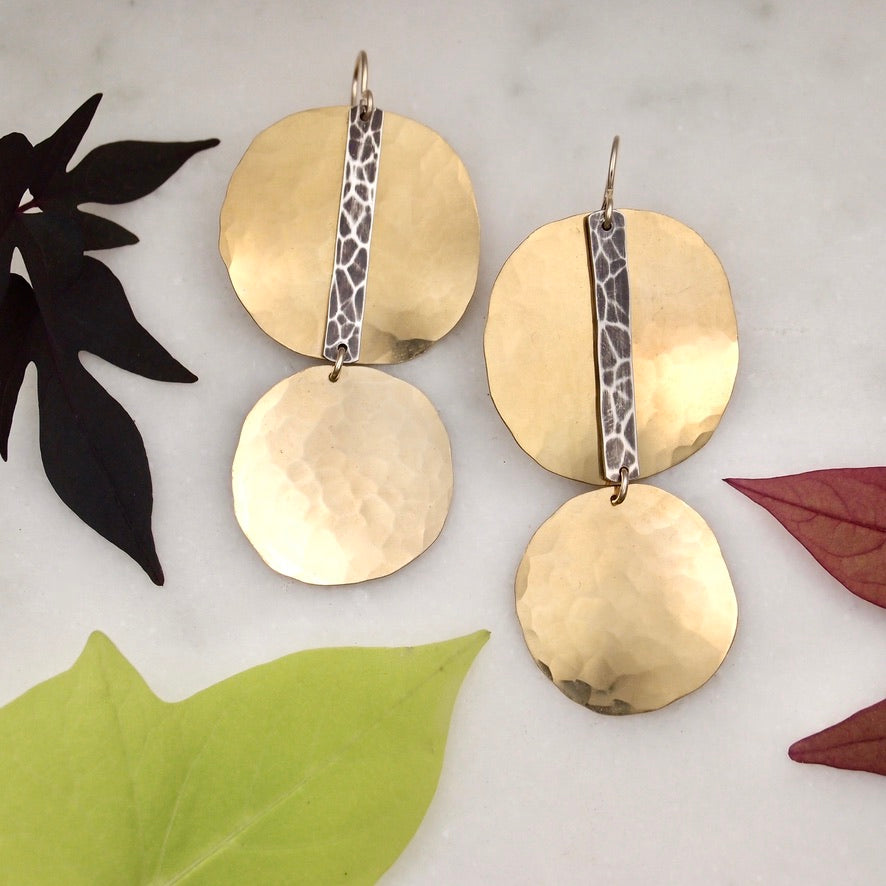 Brass disc earrings with silver accent