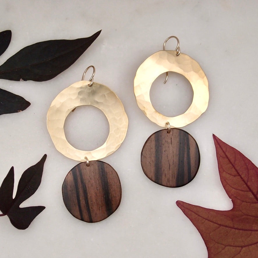 Brass and wood disc drop Earrings
