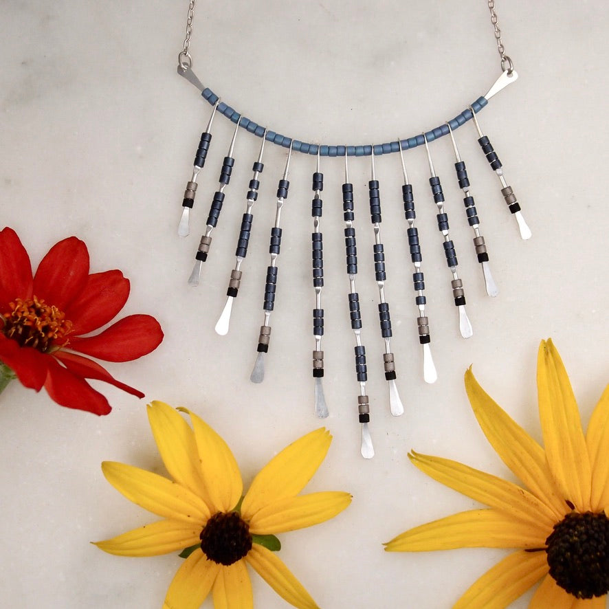 Beaded Necklace - Silver/Blue