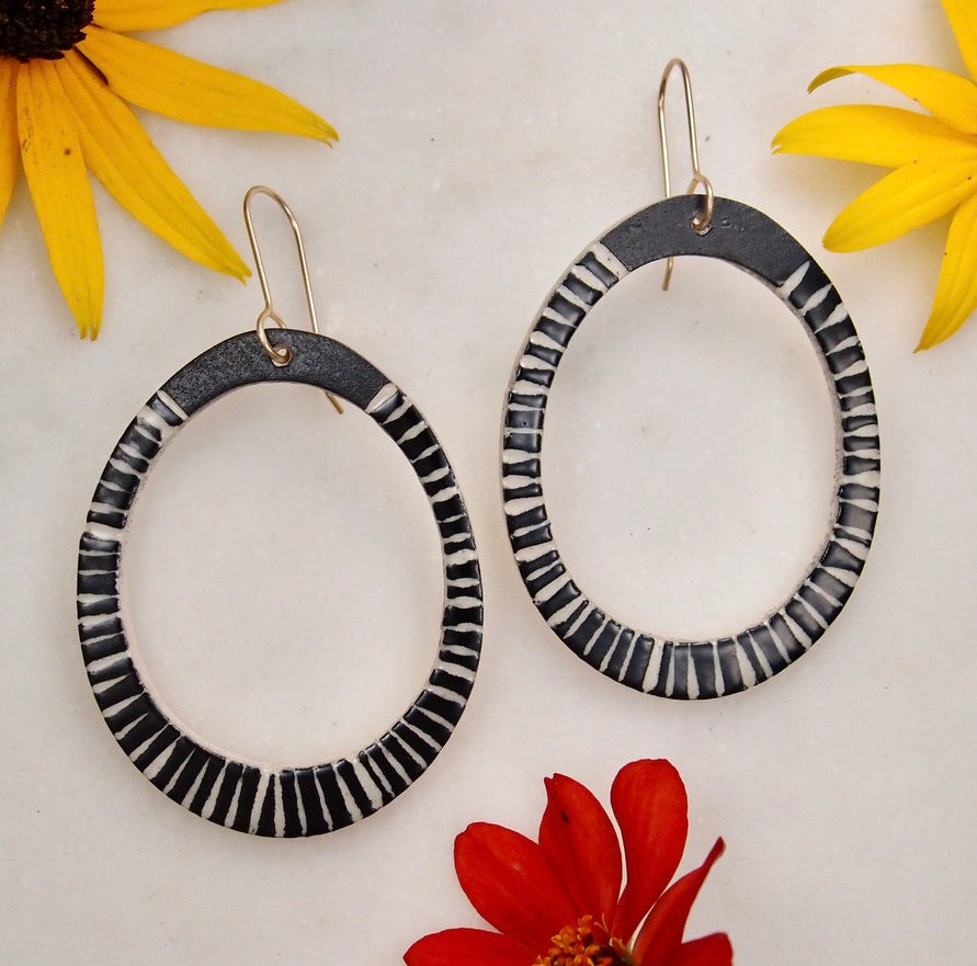 Ceramic Hoop Earrings - Stripe