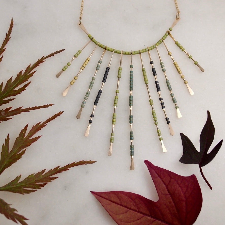 Beaded Necklace - Gold/Green