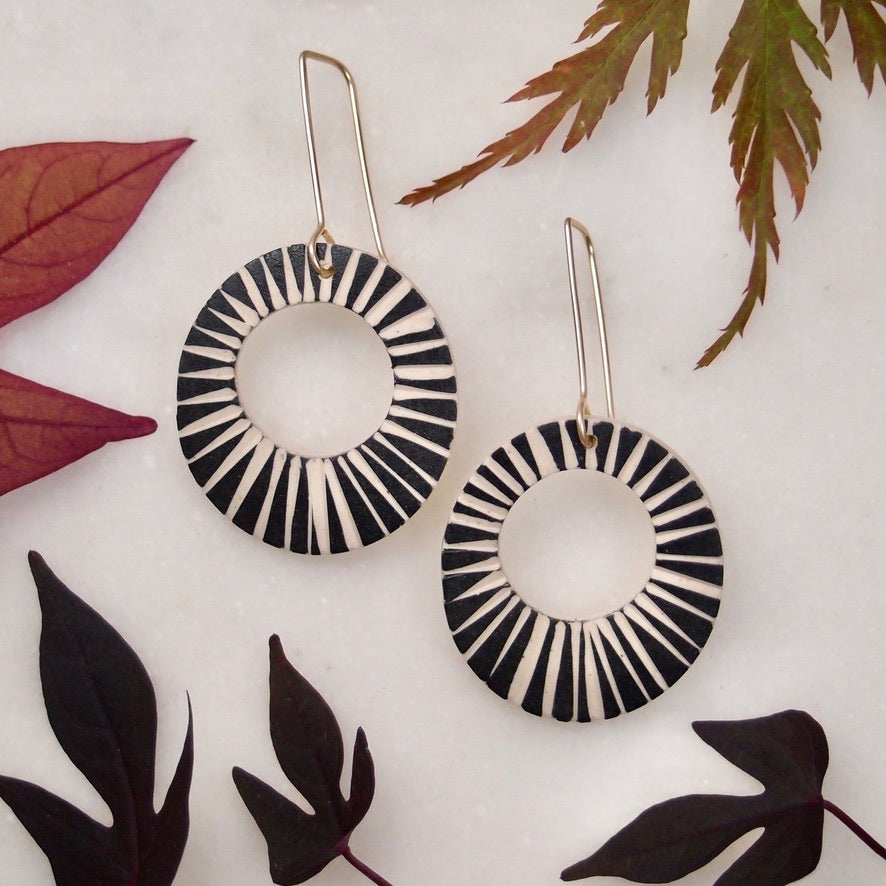 Ceramic Disk Earrings - Burst