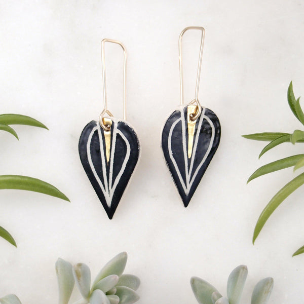 Gold Sliver Leaf Earrings