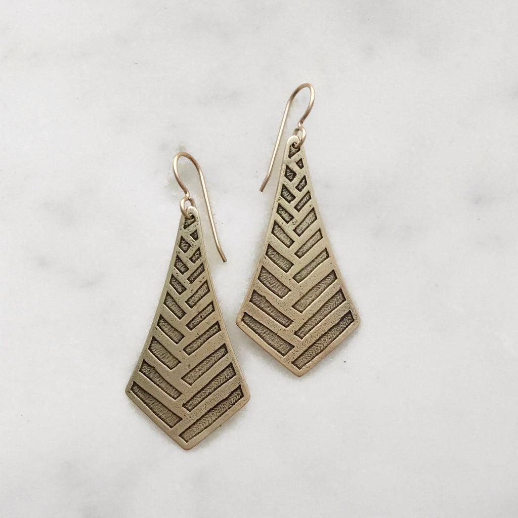 Brass Etched Earrings
