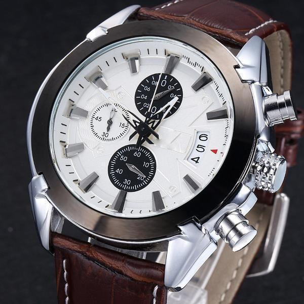 Megir Mens Sport Leather Watch Military Chronograph Analog Quartz Multifunction Wrist Watch-Brown Silver White-CulGadgets