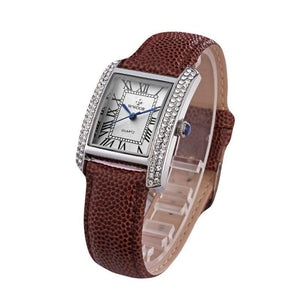 Peugeot Women's 14K Gold-Plated Tank Crystal Bezel Roman Numeral Red/Black Leather Band Watch-Brown-CulGadgets