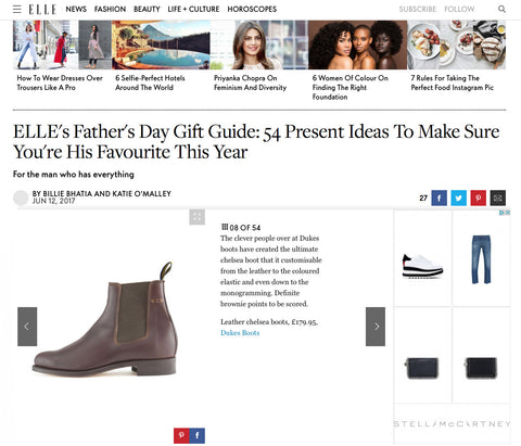 Dukes Chelsea boots featured on Elle online
