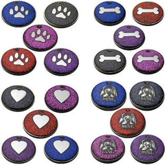 Assorted Round Novelty Glitter Pet Tags With Dog Face Shape Insert