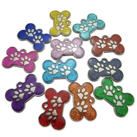 Engraved Pet ID Tags 28mm Bone Shape with Paw Insert Reflective Glitter Colour Dog Discs