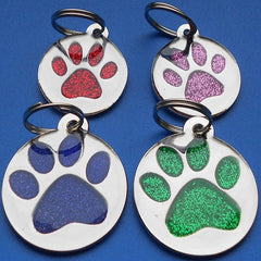 Tab Pet ID Tags Engraved Dog Discs Designer Novelty Glitter Paw Insert With Silver Round Tag 25mm