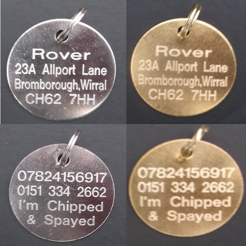 Standard Round Economy Dog Tags in Gold (Brass) or Silver (Nickel) Sizes 20mm-38mm