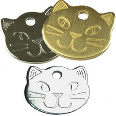 Copy of 22mm Cat Face Pet ID Tags Chrome/Brass