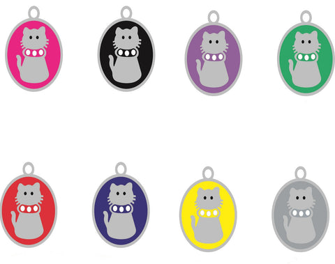 Cat Pet ID Tags Engraved Dog Discs Designer Novelty Glitter Paw Insert With Silver Round Tag 29mm