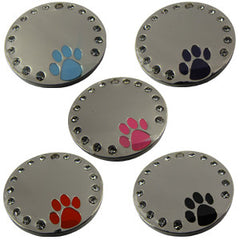Engraved Pet ID Tags Dog Cat Discs Disks Diamontee Round With Paw Design 32mm Novelty