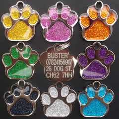 Reflective Glitter Dog Paw Shaped Design 35mm EXTRA LARGE