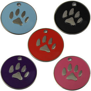 32mm Round Novelty Colour Enamel Pet Tags With Paw Shape Insert