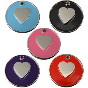 Engraved Pet ID Tags 25mm Round Colour Enamel Pet Tags Heart Shape Insert