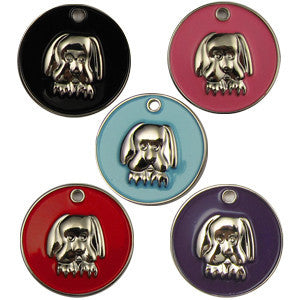 32mm Round Novelty Colour Enamel Pet Tags With Dog Face Shape Insert