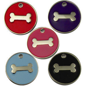 32mm Round Novelty Coloured Enamel Pet Tags With Bone Shape Insert
