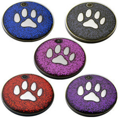 Engraved Pet ID Tags For Cats and Dogs 32mm Round Novelty Glitter Pet Tags With Paw Shape Insert