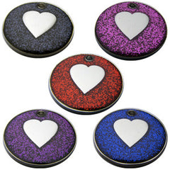 Engraved Pet ID Tags For Dogs and Cats 25mm Round Novelty Glitter Pet Discs With Heart Shape Insert