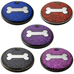 32mm Round Novelty Glitter Pet Tags With Bone Shape Insert
