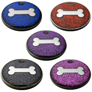 Engraved Pet ID Tags Dog Cat Discs Disks 25mm Round Novelty Glitter Pet Tags With Bone Shape Insert