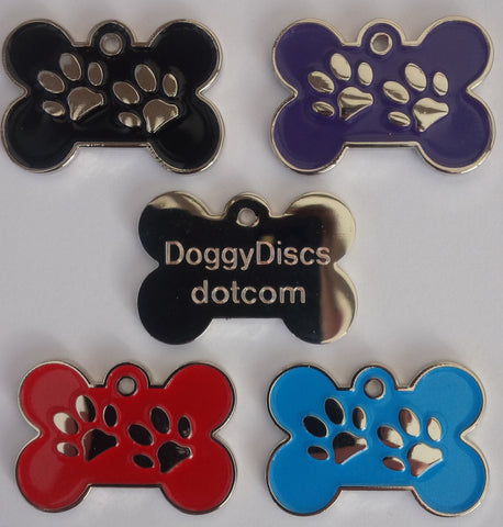 Engraved Pet ID Tags 32mm Bone Shape with Paw Insert Plain Colour Dog Discs