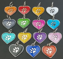 30mm Round Novelty Glitter Pet Tags With Heart Shape Insert